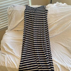 Navy and blue striped maxi dress